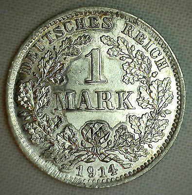 1914 D Silver German Empire 1 Mark Germany Coin BU Uncirculated #P1