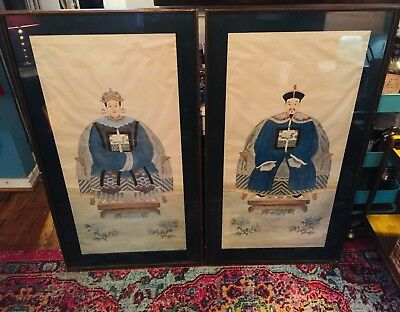 Antique Emperor and Empress Ancestor Paintings