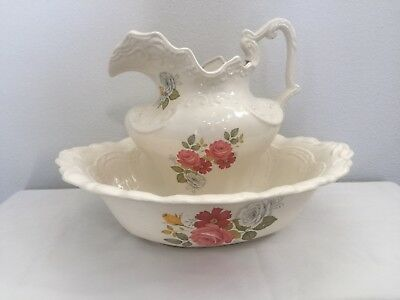 Arners Pitcher And Basin White with Pink Floral Bouquet