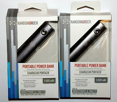 2-PACK (TWO) Portable Power Bank Battery Pack 2,800mAh Micro-USB Random Order
