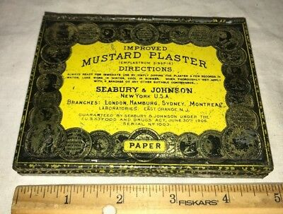 Antique Seabury Johnson Mustard Plaster Tin Litho Medicine First Aid Bandage Can