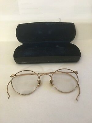 AO Round Uhlemann 12K GOLD Fill True ANTIQUE EYEGLASSES w/ Vintage Case