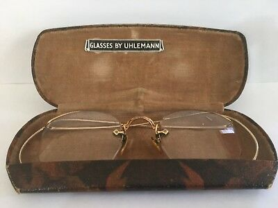 AO Squire Uhlemann 12K GOLD Fill True ANTIQUE EYEGLASSES & Vintage Original Case