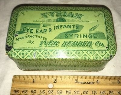 Antique Tyrian Eye Ear Infant Syringe Tin Litho Medicine Can Tyer Rubber Co Old