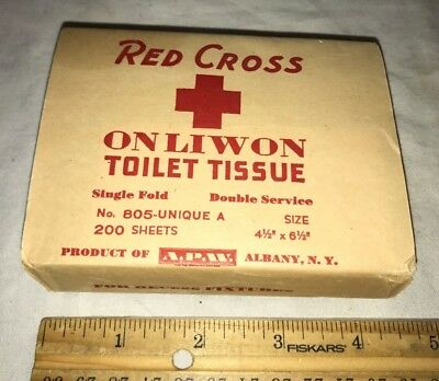 Antique Unopened Red Cross Toilet Paper Tissue Package Albany Ny Vintage Liwon