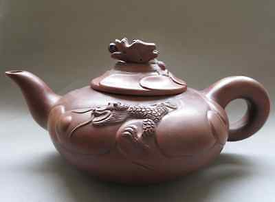 Old Pottery Good Craftsmanship Chinese Yixing Zisha Big Teapot-- Carving Dragon