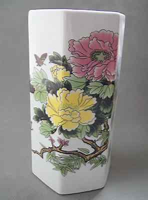 Old Collectible Handwork Jingdezhen Porcelain Paint Peony and birds Brush Pot