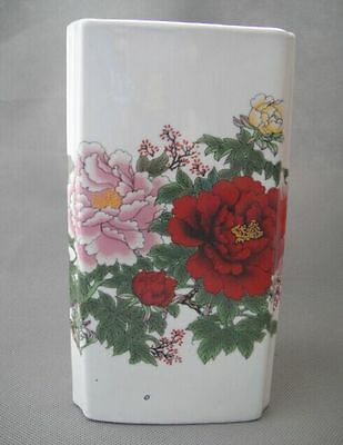 Old Chinese Handwork Jingdezhen Porcelain Paint Peony Brush Pot