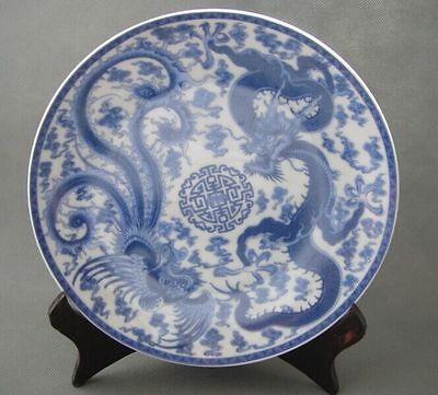 Old Chinese jingdezhen Blue and white Porcelain Plates Painted Dragon phoenix
