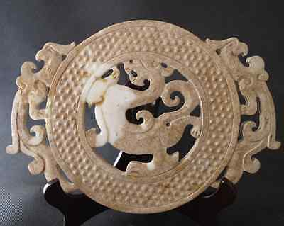 Antique China aristocratic White jade Hand-Carved dragon phoenix wall 18th