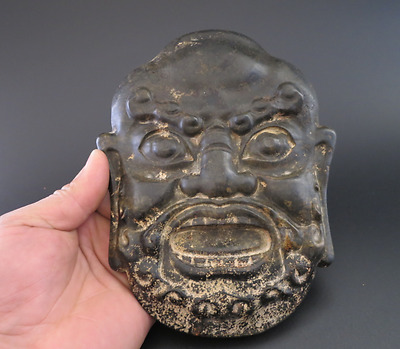 Old Chinese Han Dynasty jade stone Hand-carved Arhats Buddha Mask 663g