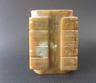 Antique China Hongshan Cultural Old Jade Carved Cong & Zong Statue 630g