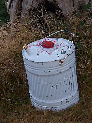 Vintage Rustic Metal Hand Painted 5 GAL SERVICE STATION GAS OIL CAN PriMiTiVe
