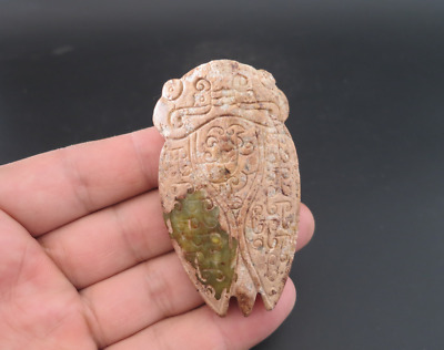Old Chinese HongShan culture jade hand-carved cicada amulet pendant Y4329
