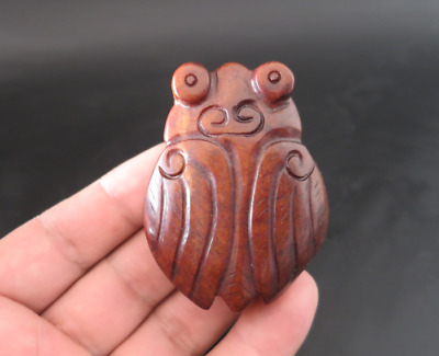 Old Chinese HongShan culture jade hand-carved cicada amulet pendant Y4316