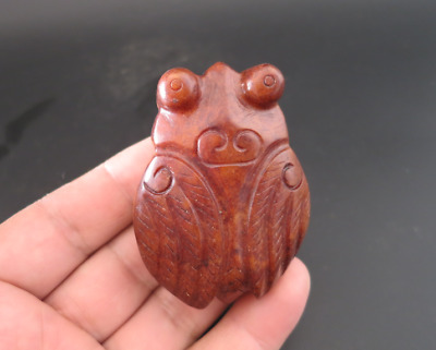 Old Chinese HongShan culture jade hand-carved cicada amulet pendant Y4323