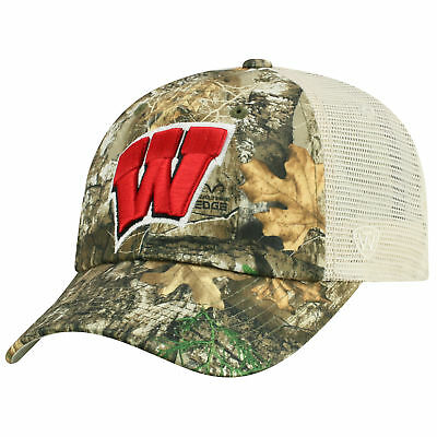 b79cfee124017 Wisconsin Badgers NCAA Adjustable Sentry Realtree Poly Twill and Mesh Hat  Cap