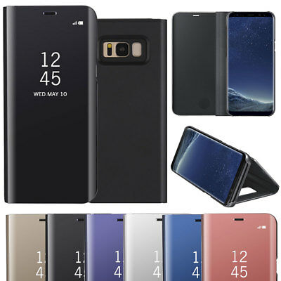 Luxury Mirror Window View Case Flip Stand Cover For Samsung S6 S7 Edge S8 Plus