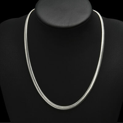 925 Sterling Solid Silver 6MM Flat Snake Chain Men Women Necklace 16-24 inch