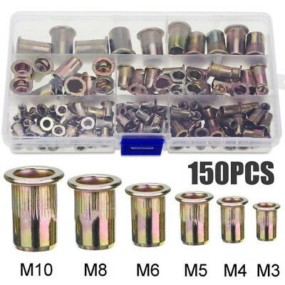 "Qty 10 3//16/"" 10-32 UNF Nutserts Clear Zinc Plated Steel Rivet Nut Rivnut Nutsert"