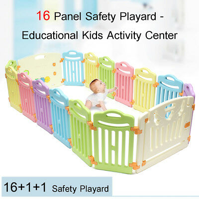 AU 18 Sided Panel Baby Playpen Interactive Kids Toddler Room w/ Safety Game Gate