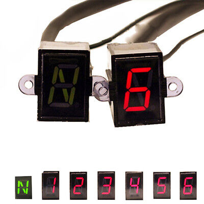Motorcycle Gear Indicator LED Light Universal N-6 Speed Shift Clutch Lever Gauge