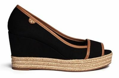 758d7544b3f Tory Burch Black Royal Tan Majorca Logo Platform Wedge Peep Toe 10.5  225  New