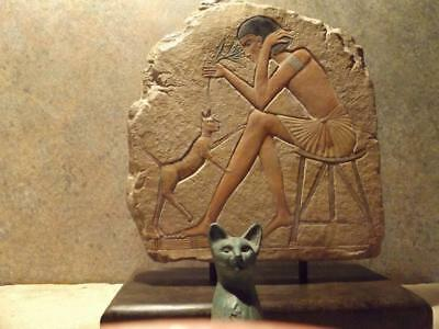 Egyptian art / statue & relief sculpture Bast cat - Tadukhippa & the sculptor.