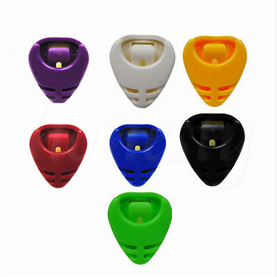 5x Colorful Plactic Guitar Pick Plectrum Holder Case Box Acoustic Heart Shaped