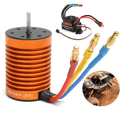 9T 4370KV Brushless Motor 60A ESC Speed Controller Combo for 1/10 RC Car RC763
