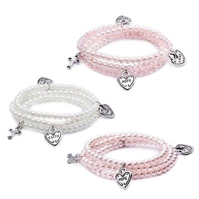 Pack of 24 Glass Religious Decorative Cross and Heart Pearl Wrap Bracelets 6""