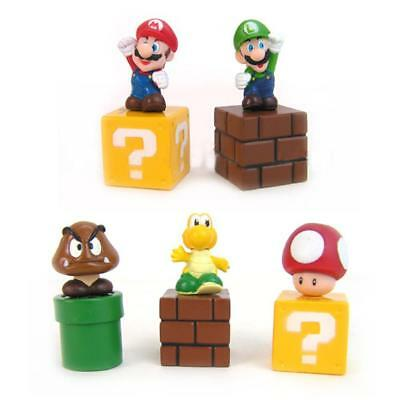 5pcs Mini Super Mario Bros Lot Action Figure Doll Toy Gifts So Cute Funny