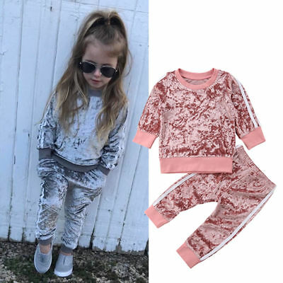 UK Toddler Kids Baby Girl Velvet Clothes T-shirt Top Pants Outfit Sets Tracksuit