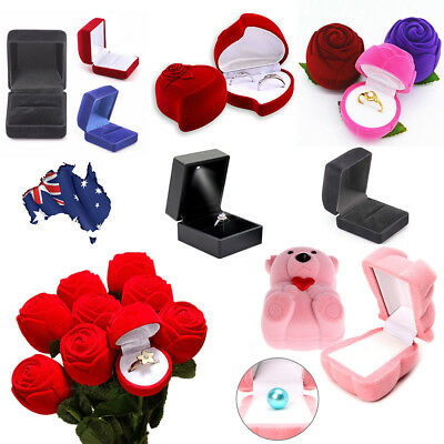 Luxury Velvet Ring Display Show Box Heart Jewellery Gift Earring Storage Case LT