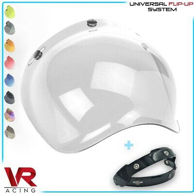 Visiera Casco 3 Bottoni Bubble Shield Jet Universale Cafe Racer Vintage Custom