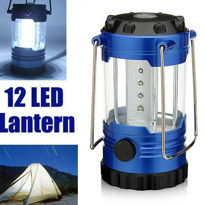 Adjustable Portable 12LED Camping Tent Lamp Light Fishing Lantern Torch Compass