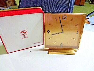 Imhof 8 Day Vintage  Art Deco Swiss Made Brass Clock In Original Box