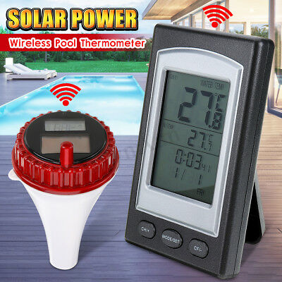 Solar Wireless Remote Floating Thermometer Swimming Pool Waterproof Tub Pond