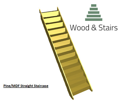 Pine/MDF Straight Staircase- Made to Order- Between 2600-2700mm Rise-