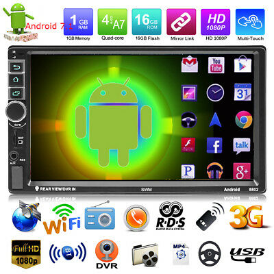Android 7.1 2DIN 7in HD GPS Navi Car Stereo MP5 Player RDS AM FM Radio Bluetooth