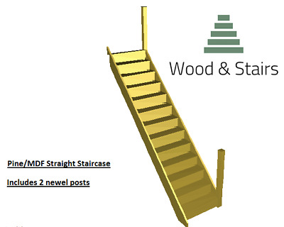 Pine/MDF Straight Staircase- 3000-3100mm Rise-2 Pine Square Newels-MADE TO ORDER