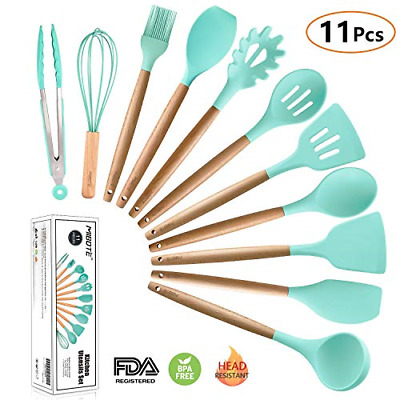 Silicone Cooking Utensils Kitchen Utensil Set, MIBOTE 11 Pieces Acacia Wooden -