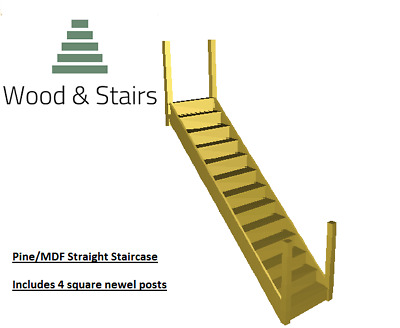 Pine/MDF Straight Staircase- 2700-2800mm Rise-4 Pine Square Newels-MADE TO ORDER