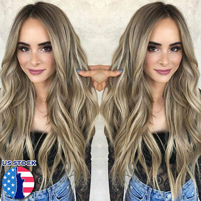 Long Blonde Synthetic Wavy Side Part Brown Long Hair Replacement Wig For Women