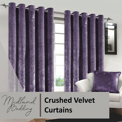 Midland Crushed Velvet Curtains PAIR of Eyelet Ring Top Fully Lined Ready Made