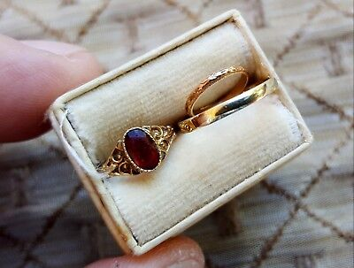 Vtg Antique Lot of 3 Small Baby / Child 10K Yellow Gold Rings in Old Jewelry Box