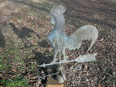 Vintage Antique Copper Rooster Weather Vane