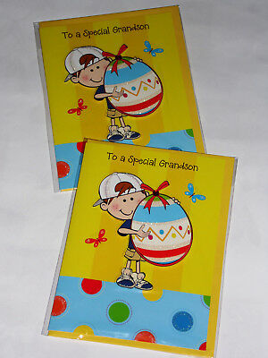 "'GRANDSON' HANDMADE EASTER CARDS X 12, JUST 39p, 7"" x 5""   ( B169"