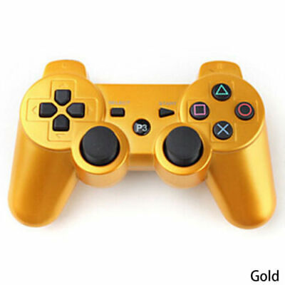 3rd Party Gold Wireless Gamepad Controller for PS3 Playstation 3 Console UK post