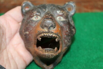Antique Cast Iron Bear Head Bottle Opener Wall Hanging Missing Paint